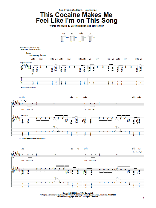 Download System Of A Down This Cocaine Makes Me Feel Like I'm On This Song sheet music and printable PDF score & Rock music notes