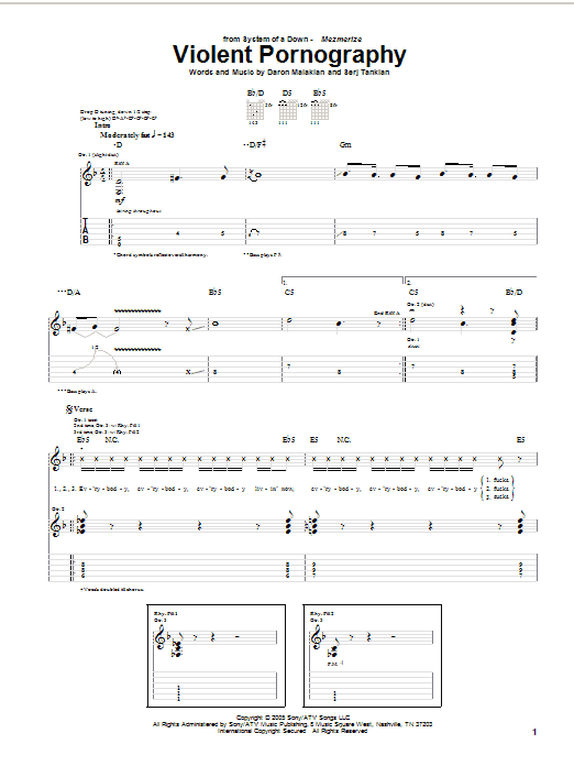 Download System Of A Down Violent Pornography sheet music and printable PDF score & Rock music notes