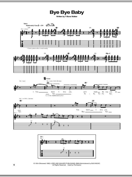 Download T-Bone Walker Bye Bye Baby sheet music and printable PDF score & Pop music notes