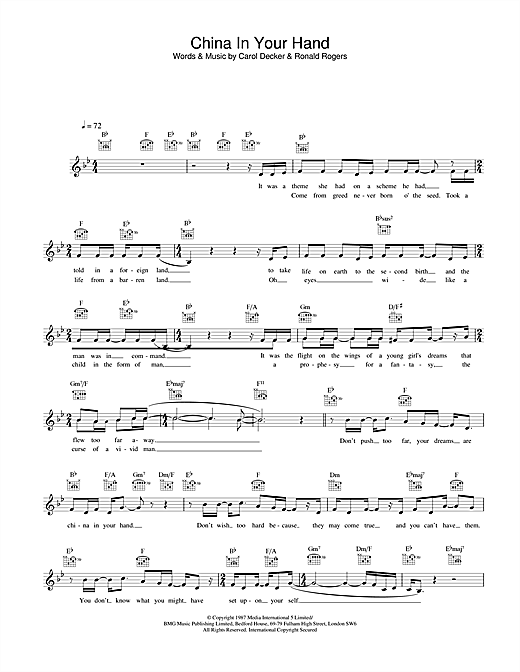 Download T'Pau China In Your Hand sheet music and printable PDF score & Rock music notes