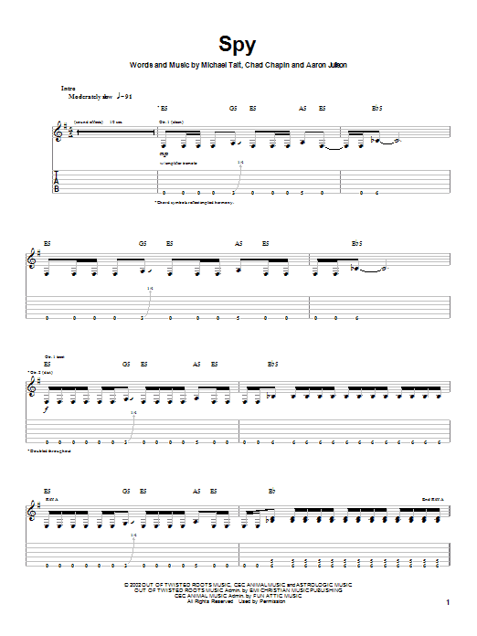 Download Tait Spy sheet music and printable PDF score & Rock music notes