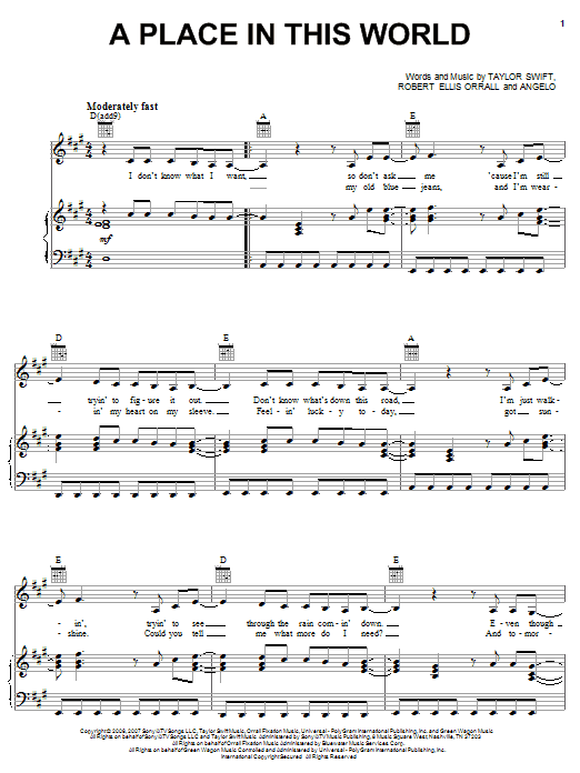 Download Taylor Swift A Place In This World sheet music and printable PDF score & Pop music notes