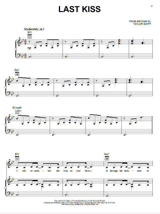 Download Taylor Swift Last Kiss sheet music and printable PDF score & Pop music notes
