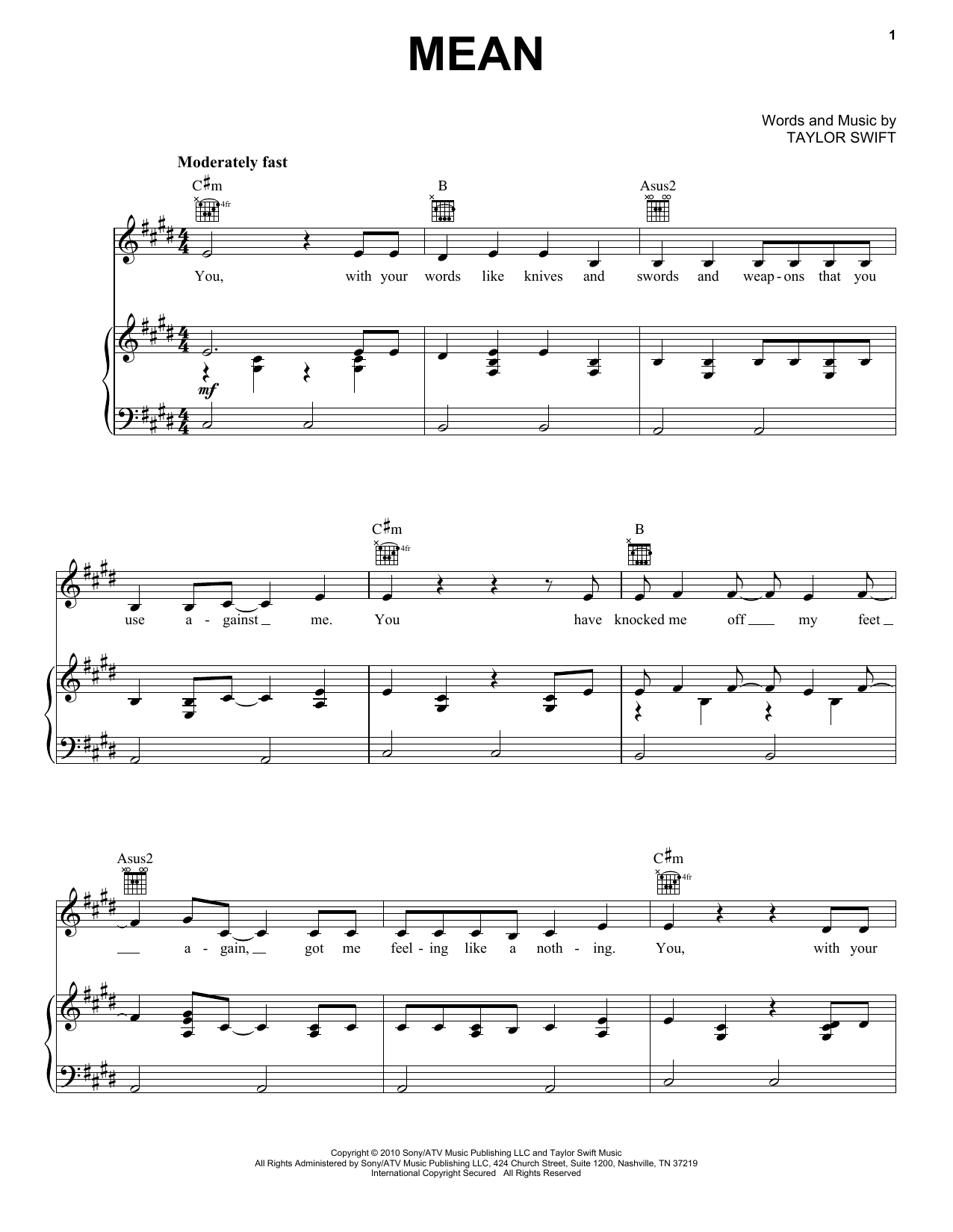 Download Taylor Swift Mean sheet music and printable PDF score & Pop music notes