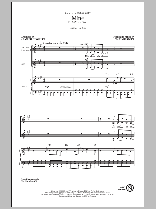 Download Taylor Swift Mine (arr. Alan Billingsley) sheet music and printable PDF score & Pop music notes