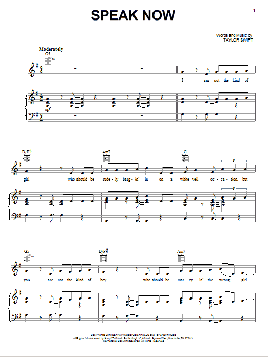 Download Taylor Swift Speak Now sheet music and printable PDF score & Pop music notes