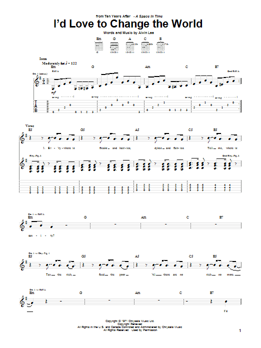 Download Ten Years After I'd Love To Change The World sheet music and printable PDF score & Rock music notes