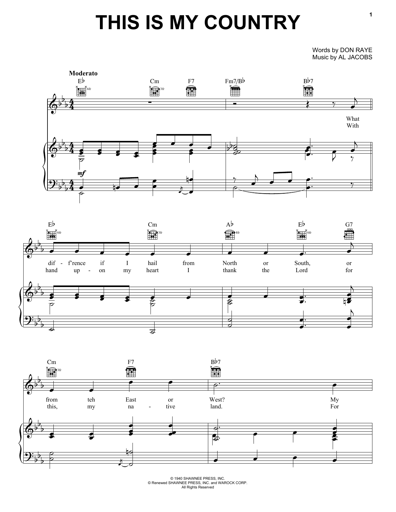 Download Tennessee Ernie Ford This Is My Country sheet music and printable PDF score & Folk music notes