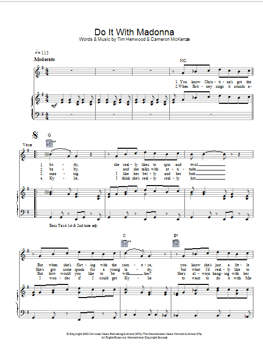 Download The Androids Do It With Madonna sheet music and printable PDF score & Pop music notes