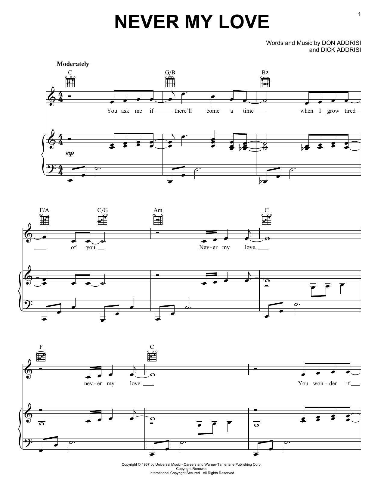 Download The Association Never My Love sheet music and printable PDF score & Folk music notes