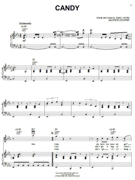 Download The Astors Candy sheet music and printable PDF score & Pop music notes