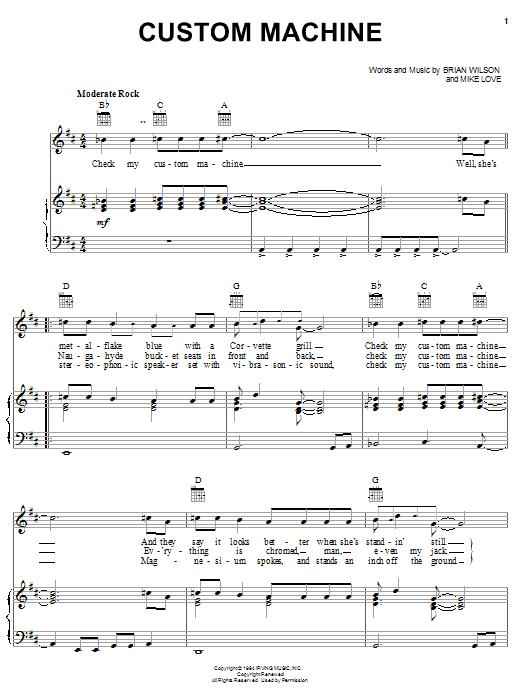 Download The Beach Boys Custom Machine sheet music and printable PDF score & Rock music notes