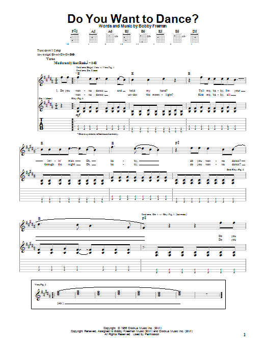 Download The Beach Boys Do You Want To Dance? sheet music and printable PDF score & Pop music notes