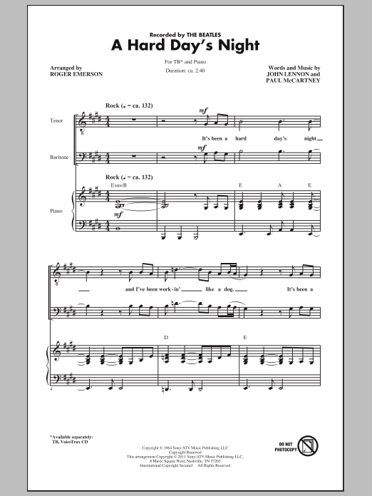 Download The Beatles A Hard Day's Night (arr. Roger Emerson) sheet music and printable PDF score & Pop music notes