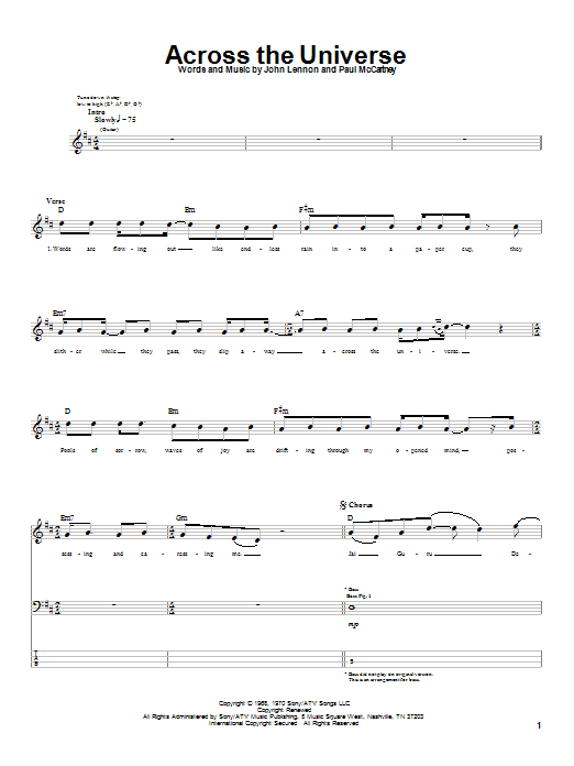 Download The Beatles Across The Universe sheet music and printable PDF score & Rock music notes