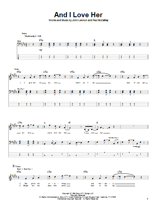 Download The Beatles And I Love Her sheet music and printable PDF score & Rock music notes