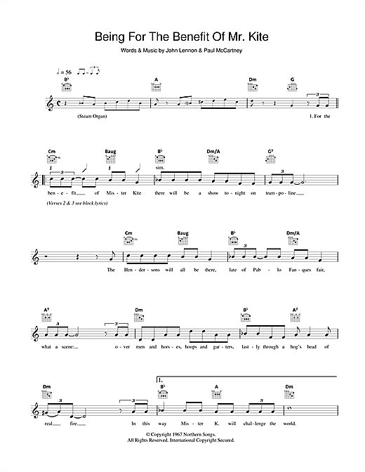 Download The Beatles Being For The Benefit Of Mr. Kite sheet music and printable PDF score & Pop music notes