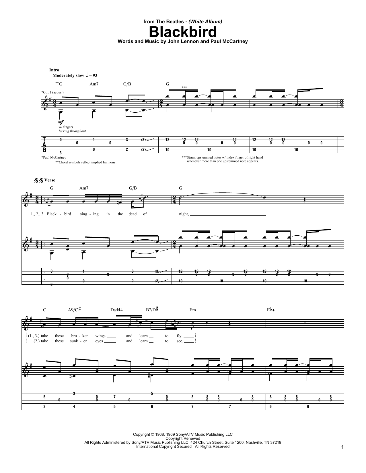 Download The Beatles Blackbird sheet music and printable PDF score & Rock music notes