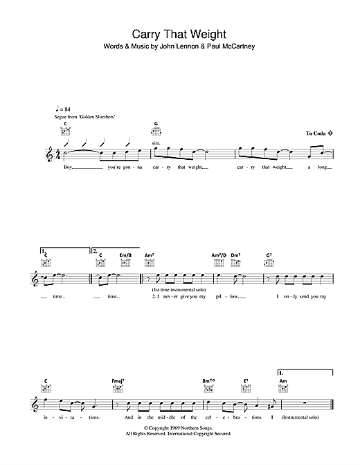 Download The Beatles Carry That Weight sheet music and printable PDF score & Pop music notes