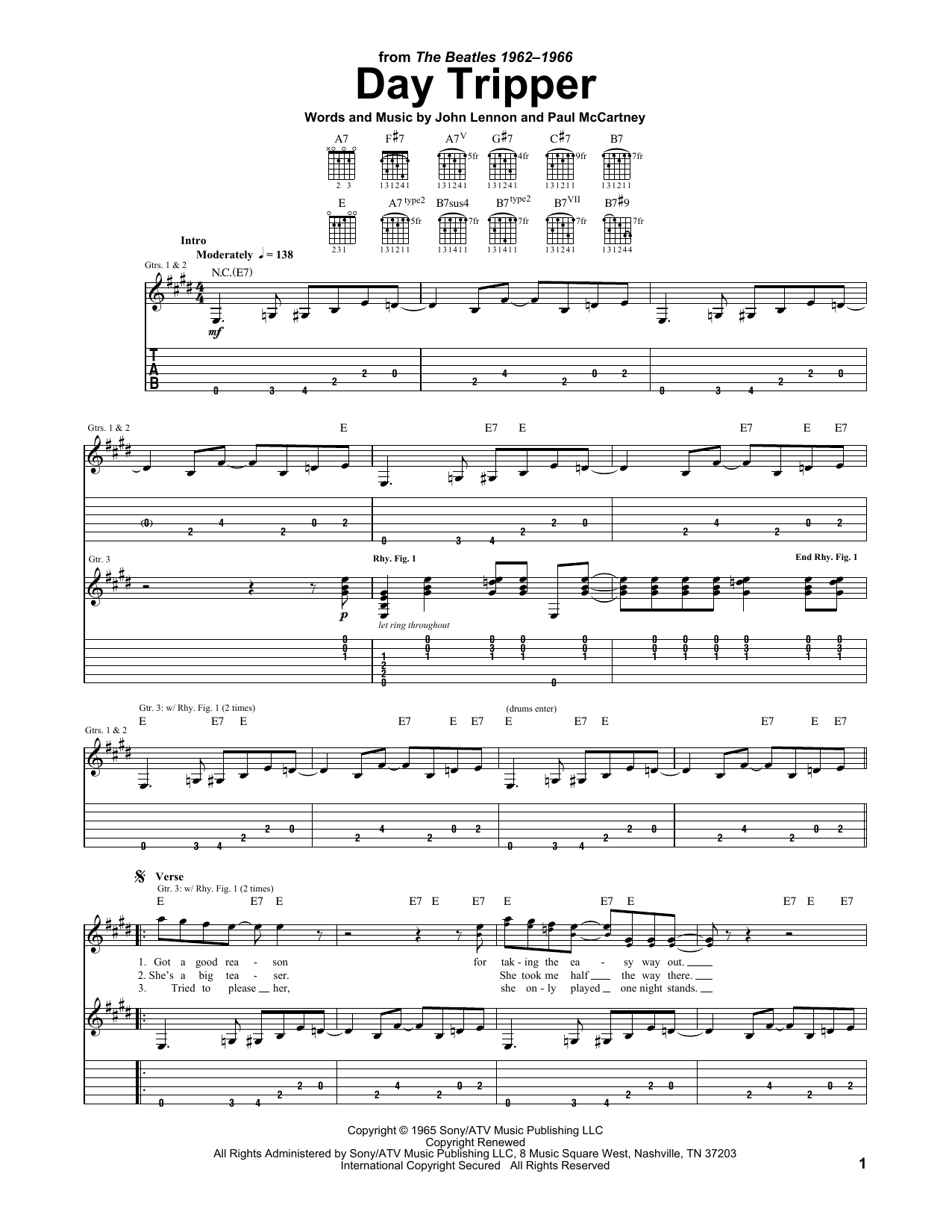 Download The Beatles Day Tripper sheet music and printable PDF score & Rock music notes