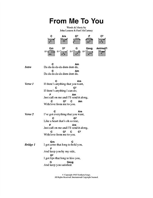 Download The Beatles From Me To You sheet music and printable PDF score & Rock music notes