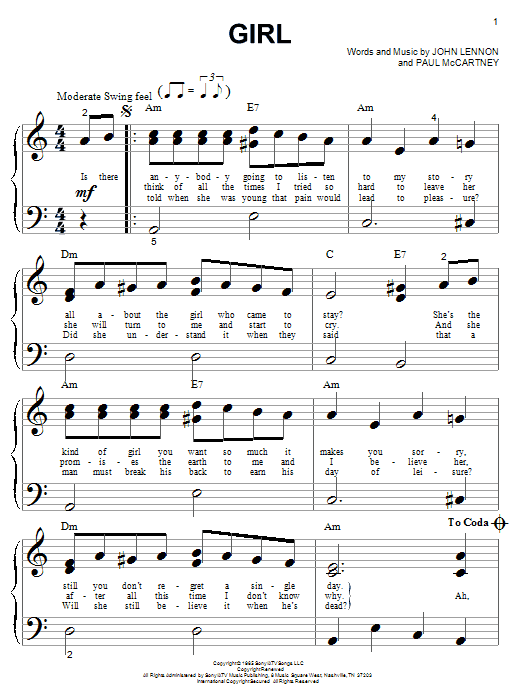 Download The Beatles Girl sheet music and printable PDF score & Pop music notes