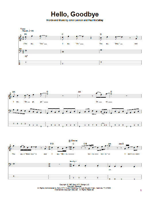 Download The Beatles Hello, Goodbye sheet music and printable PDF score & Rock music notes
