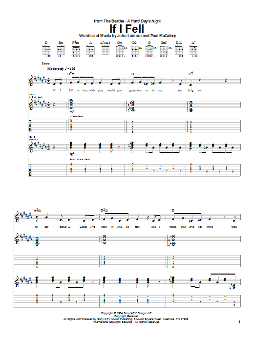 Download The Beatles If I Fell sheet music and printable PDF score & Pop music notes