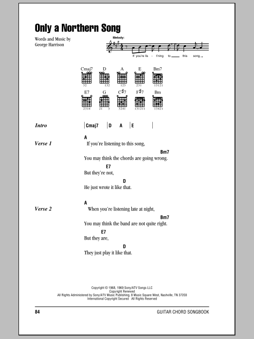 Download The Beatles Only A Northern Song sheet music and printable PDF score & Rock music notes