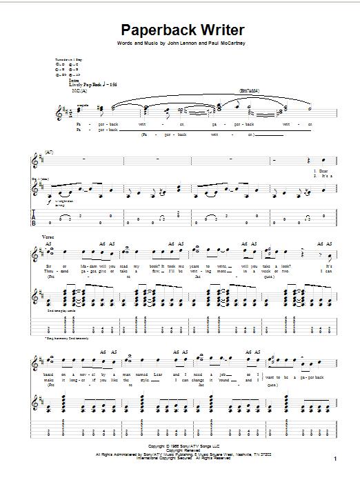 Download The Beatles Paperback Writer sheet music and printable PDF score & Rock music notes