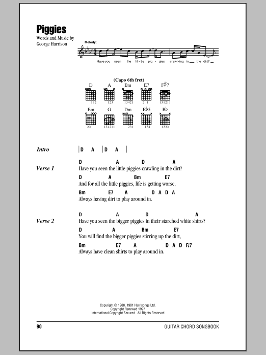 Download The Beatles Piggies sheet music and printable PDF score & Rock music notes