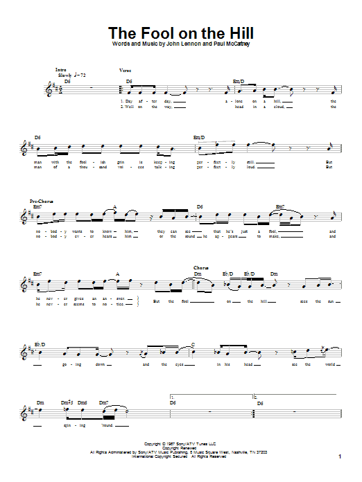 Download The Beatles The Fool On The Hill sheet music and printable PDF score & Rock music notes