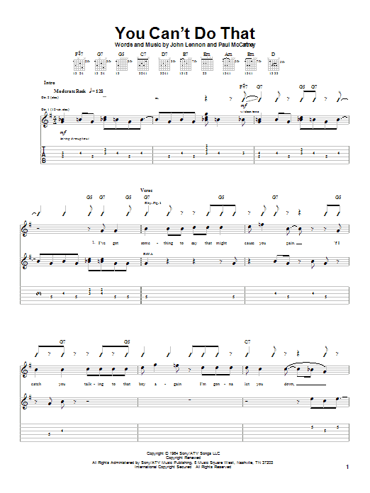 Download The Beatles You Can't Do That sheet music and printable PDF score & Rock music notes