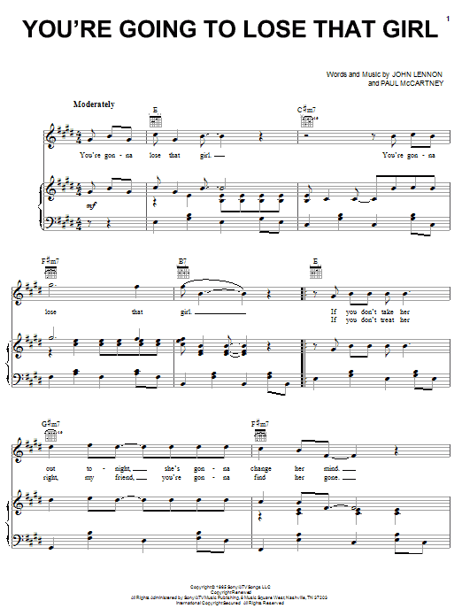 Download The Beatles You're Going To Lose That Girl sheet music and printable PDF score & Rock music notes
