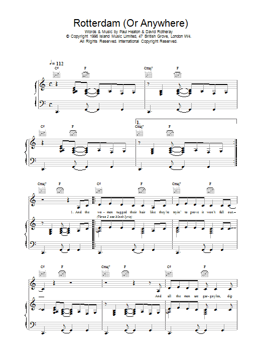 Download The Beautiful South Rotterdam (Or Anywhere) sheet music and printable PDF score & Rock music notes