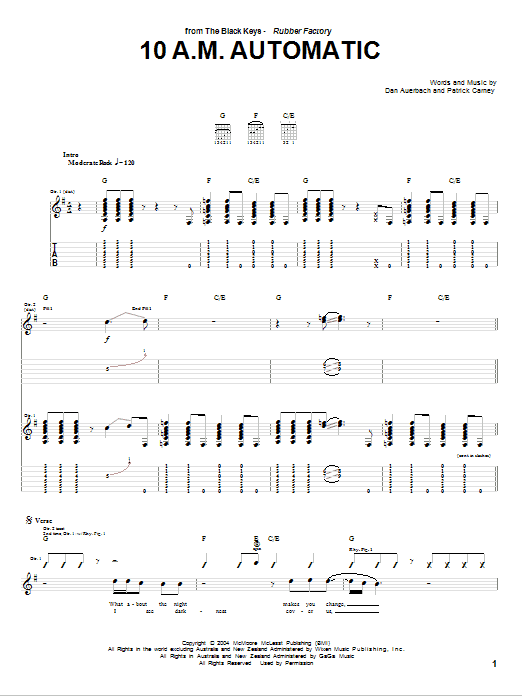 Download The Black Keys 10 A.M. Automatic sheet music and printable PDF score & Rock music notes