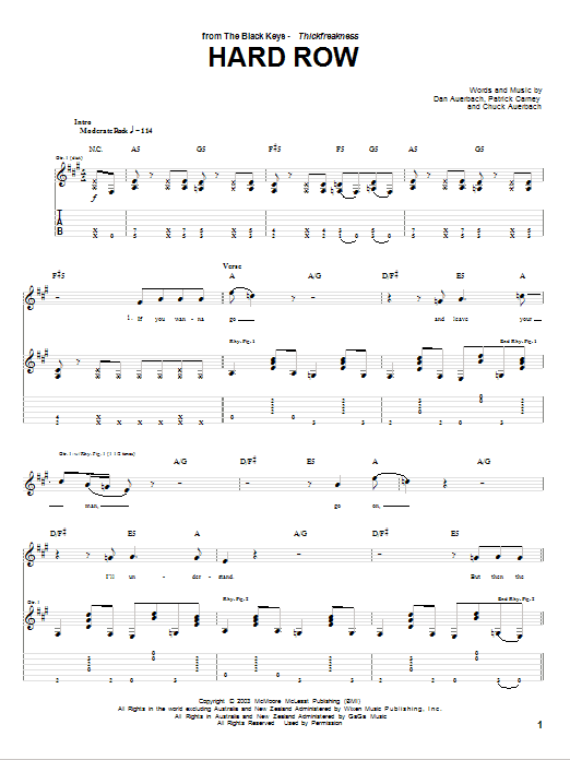 Download The Black Keys Hard Row sheet music and printable PDF score & Rock music notes