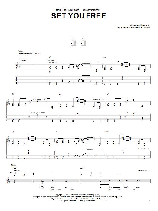 Download The Black Keys Set You Free sheet music and printable PDF score & Rock music notes