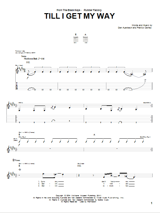 Download The Black Keys Till I Get My Way sheet music and printable PDF score & Rock music notes