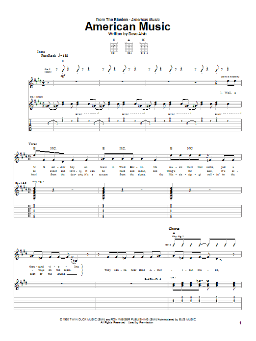 Download The Blasters American Music sheet music and printable PDF score & Rock music notes