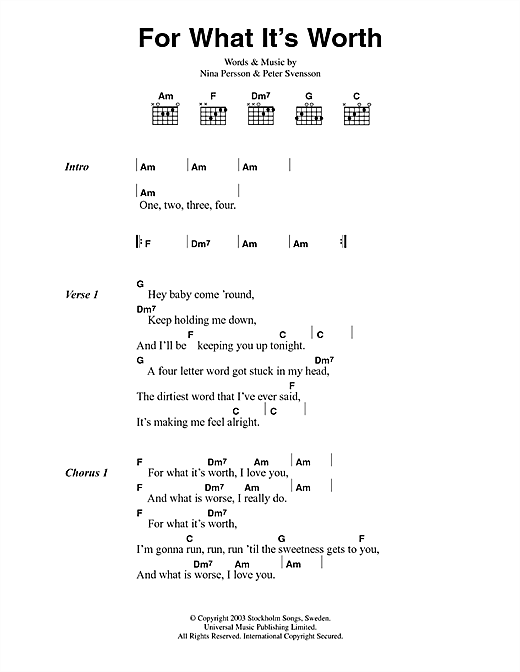 Download The Cardigans For What It's Worth sheet music and printable PDF score & Pop music notes