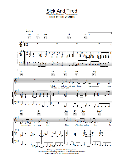 Download The Cardigans Sick And Tired sheet music and printable PDF score & Pop music notes