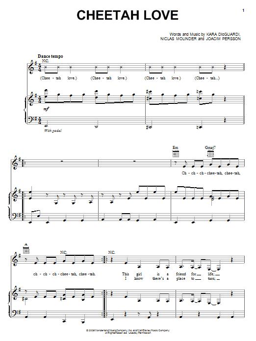 Download The Cheetah Girls Cheetah Love sheet music and printable PDF score & Pop music notes