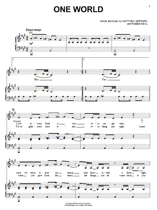 Download The Cheetah Girls One World sheet music and printable PDF score & Pop music notes