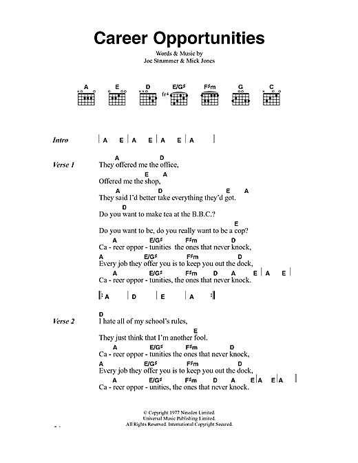 Download The Clash Career Opportunities sheet music and printable PDF score & Punk music notes