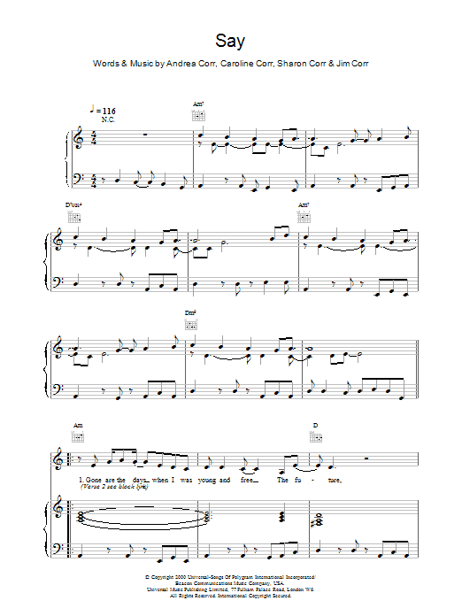 Download The Corrs Say sheet music and printable PDF score & Folk music notes