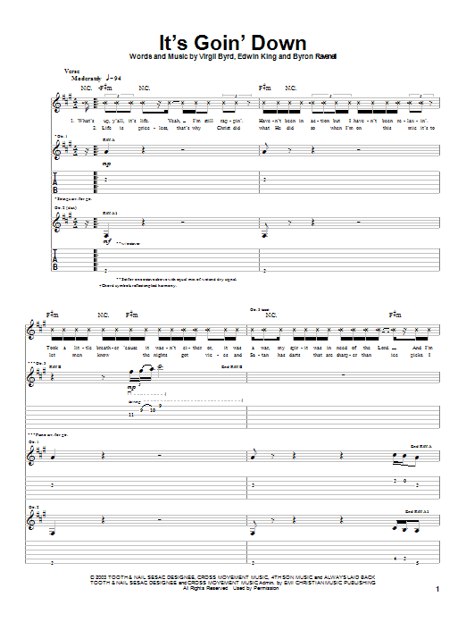 Download The Cross Movement It's Goin' Down sheet music and printable PDF score & Rock music notes