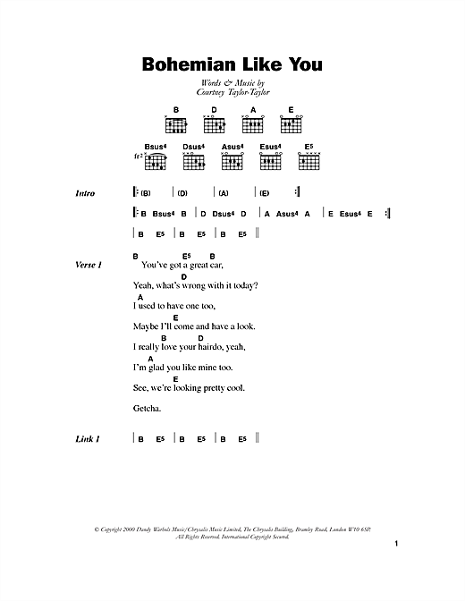 Download The Dandy Warhols Bohemian Like You sheet music and printable PDF score & Rock music notes