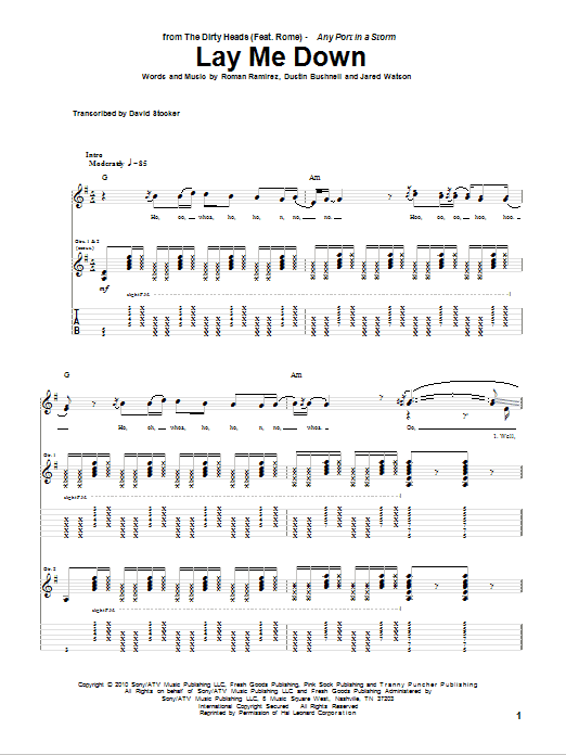 Download Dirty Heads Lay Me Down (feat. Rome) sheet music and printable PDF score & Pop music notes