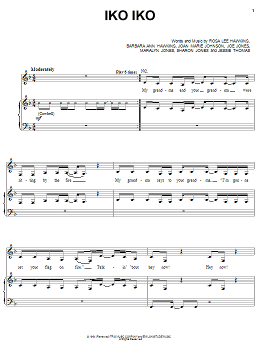 Download The Dixie Cups Iko Iko sheet music and printable PDF score & Rock music notes